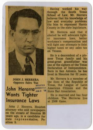 Primary view of object titled 'John Herrera wants tighter insurance laws'.