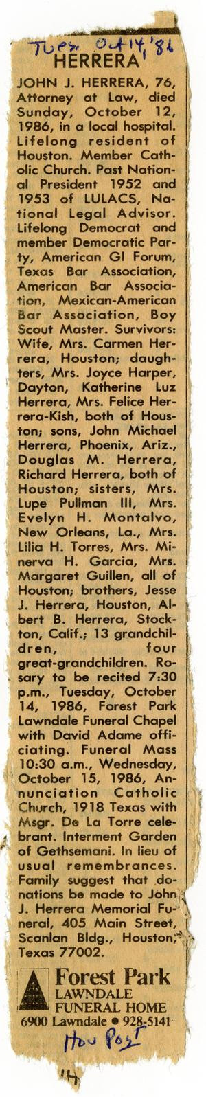 Primary view of object titled '[Obituary for John J. Herrera, Houston Post - 1986-10-14]'.