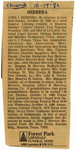 Primary view of object titled '[Obituary for John J. Herrera, Houston Chronicle - 1986-10-14]'.