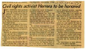 Primary view of object titled 'Civil Rights activist Herrera to be honored'.