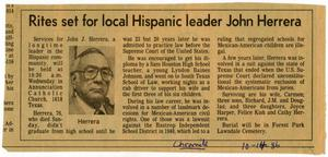 Primary view of object titled 'Rites set for local Hispanic leader John Herrera'.