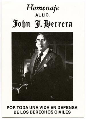 Primary view of object titled '[Program for a tribute and benefit in honor of John J. Herrera - 1986-10-09]'.