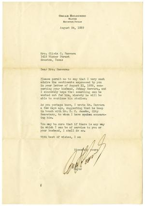 [Letter from Oscar Holcombe to Olivia C. Herrera - August 24, 1939]