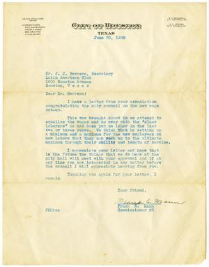 Primary view of object titled '[Letter from Frank E. Mann to John J. Herrera - 1939-06-30]'.