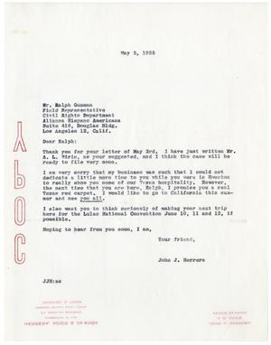Primary view of object titled '[Letter from John J. Herrera to Ralph Guzman - 1955-05-05]'.