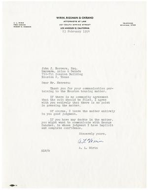 Primary view of object titled '[Letter from A.L. Wirin to John J. Herrera - 1954-02-23]'.