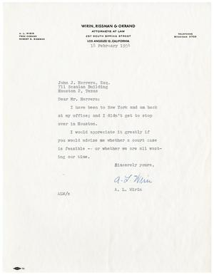 Primary view of object titled '[Letter from A.L. Wirin to John J. Herrera - 1954-02-18]'.