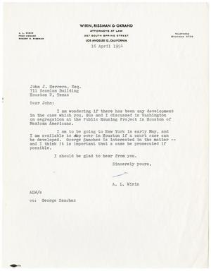 Primary view of object titled '[Letter from A.L. Wirin to John J. Herrera - 1954-04-16]'.