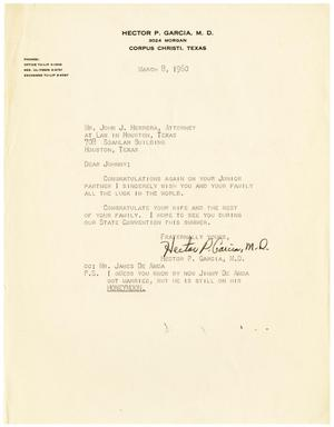 Primary view of object titled '[Letter from Hector P. Garcia to John J. Herrera - 1960-03-08]'.