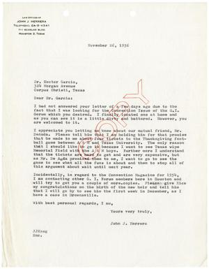 Primary view of object titled '[Letter from John J. Herrera to Hector Garcia - 1956-11-26]'.