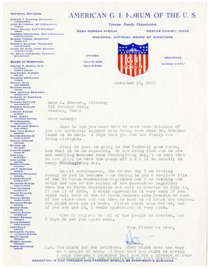 Primary view of object titled '[Letter from Hector Garcia to John J. Herrera -1956-11-19]'.