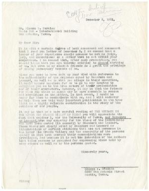 Primary view of object titled '[Letter from George I. Sánchez to Alonso S. Perales - 1951-12-05]'.
