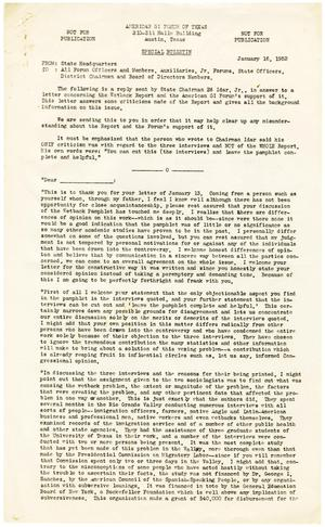 Primary view of object titled '[Special bulletin from the American GI Forum to all officers and members - January 16, 1952]'.