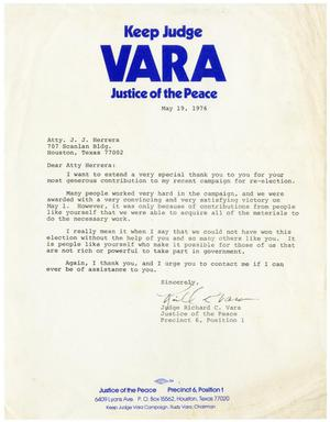 Primary view of object titled '[Letter from Richard C. Vara to John J. Herrera - 1976-05-19]'.