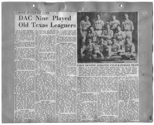 Primary view of object titled 'DAC Nine Played Old Texas Leaguers'.
