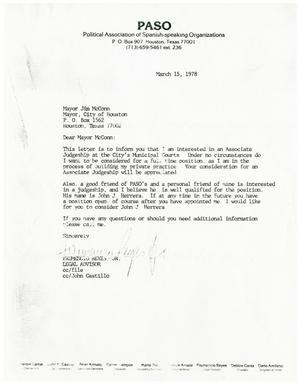 Primary view of object titled '[Letter from Frumencio Reyes to Jim McConn - 1978-03-15]'.