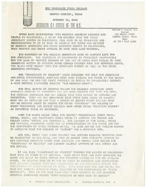 Primary view of object titled '[Press release from Hector P. Garcia of the American GI Forum - 1969-10-31]'.