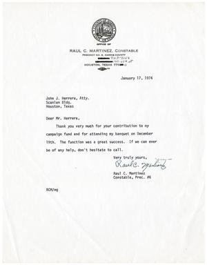Primary view of object titled '[Letter from Raul C. Martinez to John J. Herrera - 1974-01-17]'.