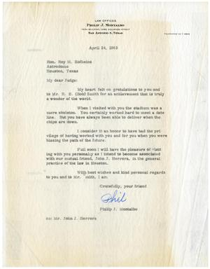 Primary view of object titled '[Letter from Philip J. Montalbo to Roy M. Hofheinz - 1965-04-24]'.