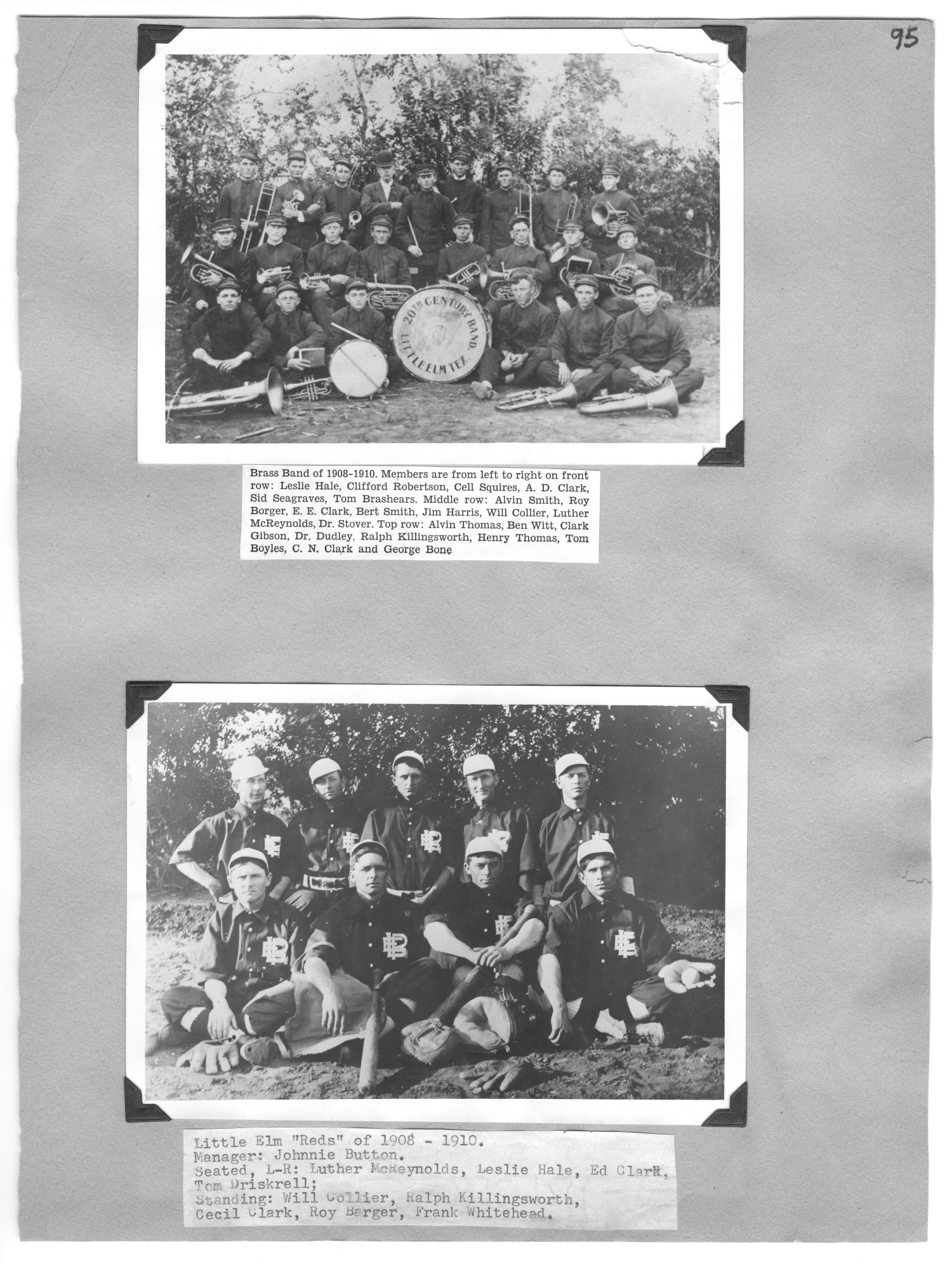 "[Brass Band and Little Elm ""Reds"" of 1908-1910]                                                                                                      [Sequence #]: 1 of 1"