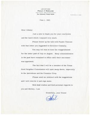 Primary view of object titled '[Letter from Philip J. Montalbo to John J. Herrera - 1965-06-01]'.
