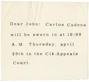 Primary view of object titled '[Letter to John J. Herrera]'.