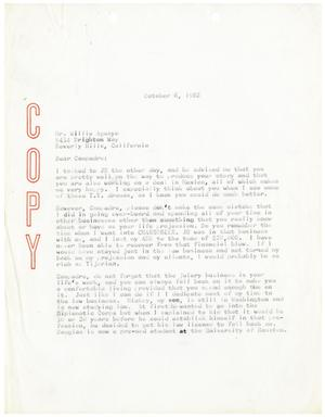 Primary view of object titled '[Letter from John J. Herrera to Willie Aguayo]'.