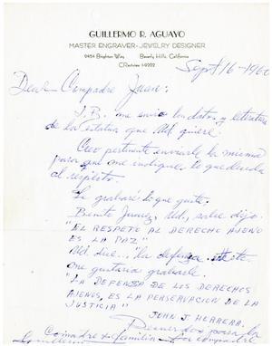 Primary view of object titled '[Letter from Guillermo R. Aquayo to John J. Herrera - 1960-09-16]'.