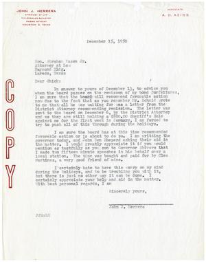 Abraham Kazen Letter from John J Herrera to Abraham Kazen Jr 19501215