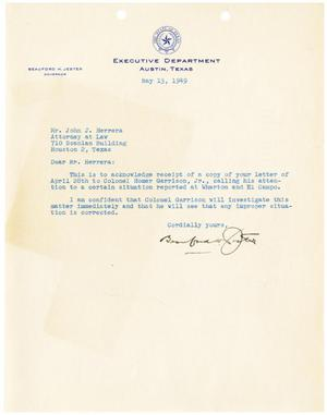 Primary view of object titled '[Letter from Beauford H. Jester to John J. Herrera - 1949-05-13]'.