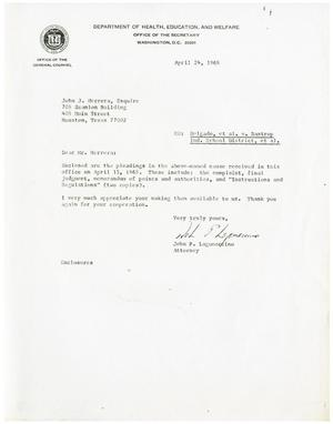 Primary view of object titled '[Letter from John P. Lagomarcino to John J. Herrera - 1968-04-24]'.