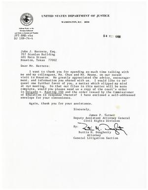 Primary view of object titled '[Letter from Burtis M. Dougherty to John J. Herrera - 1980-02-04]'.