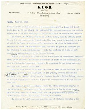 Primary view of object titled 'Newsflash from KCOR, June 15, 1948]'.