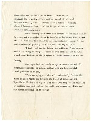 Primary view of object titled '[Speech on segregation of school children by Raoul A. Cortez]'.