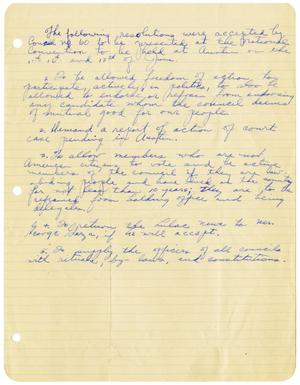 Primary view of object titled '[Resolutions from LULAC Council Number Sixty to be presented at the National Convention]'.