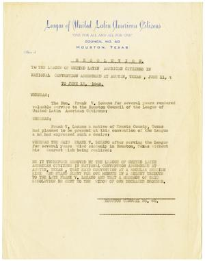 Primary view of object titled '[Resolution of the League of United Latin American Citizens - 1948]'.