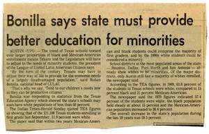 Primary view of object titled 'Bonilla says state must provide better education for minorities'.