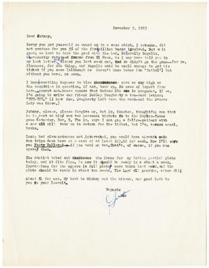 Primary view of object titled '[Letter from Gus C. Garcia to John J. Herrera - 1963-11-05]'.