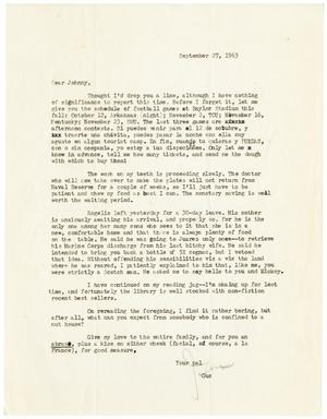 Primary view of object titled '[Letter from Gus C. Garcia to John J. Herrera - 1963-09-27]'.