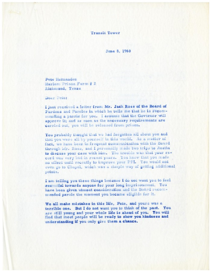 Letter from Gus C  Garcia to Pete Hernández - 1960-06-08