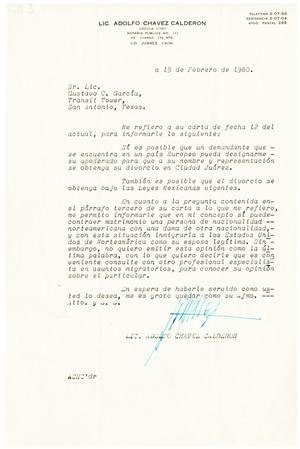Primary view of object titled '[Letter from Adolfo Chavez Calderon to Gus C. Garcia - 1960-02-15]'.