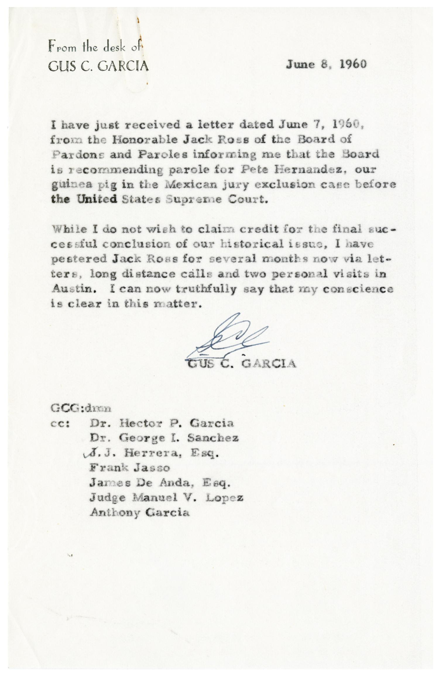 letter from gus c garcia to hector p garcia and others 1960 06 08 the portal to texas history