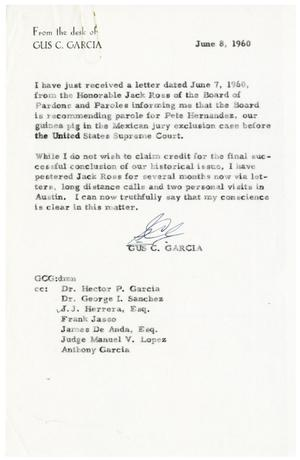 Primary view of object titled '[Letter from Gus C. Garcia to Hector P. Garcia and others - 1960-06-08]'.