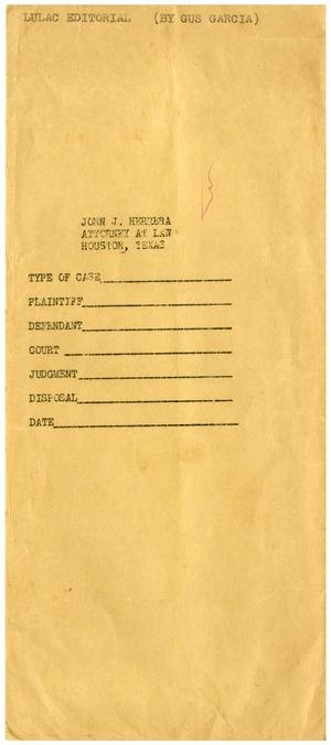Primary view of object titled '[Envelope for LULAC editorial by Gus C. Garcia to John J. Herrera]'.