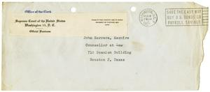 Primary view of object titled '[Envelope from the Supreme Court of the United States to John J. Herrera - 1951-02-05]'.