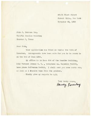 Primary view of object titled '[Letter from Harvey Rosenberg to John J. Herrera - 1953-11-29]'.