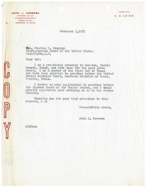 Primary view of object titled '[Letter from John J. Herrera to Charles E. Cropley - 1951-02-03]'.