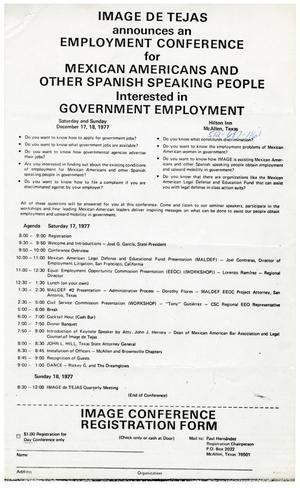 Primary view of object titled '[IMAGE de Tejas employment conference form - 1977]'.