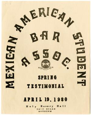 Primary view of object titled '[Program for the Mexican American Student Bar Association Spring Testimonial dinner]'.
