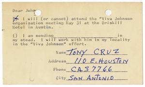 Primary view of object titled '[Postcard reply from Tony Cruz to John J. Herrera - 1964-05-25]'.